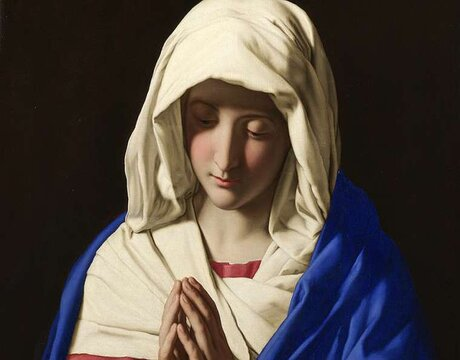 Virgin Mary by Sassoferrato. Public Domain.