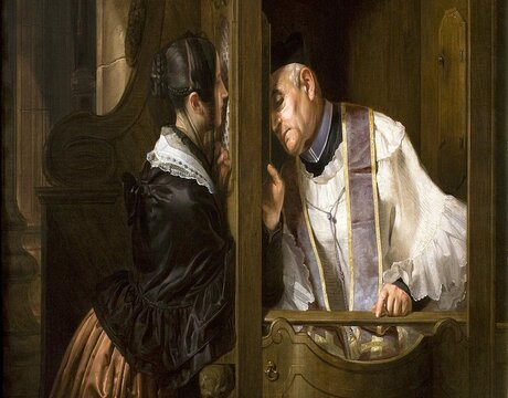 The Confession, by Giuseppe Moltini   Gallerie di Piazza Scala/Wikimedia Commons [Creative Commons Attribution-Share Alike 3.0 Unported license]